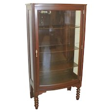 Mahogany Curio China Cabinet with Curved Glass Door Circa 1915
