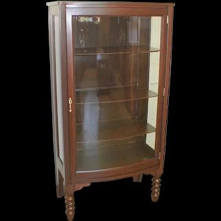 Mahogany Curio China Cabinet with Curved Glass Door Circa 1915