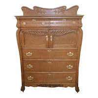 Large Oak Chest of Drawers with Cowboy Hat Boxes
