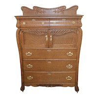 Oak Victorian Chest of Drawers with Large Hat Boxes