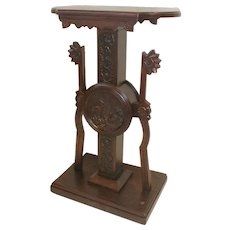 Victorian Plant Stand Pedestal with Carved Vignettes Circa 1890