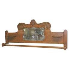 Oak Quilt Rack  Re Purposed from Victorian Murphy Bed Crown