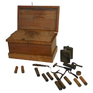 Victorian Ammo Box with Vintage Reloading Equipment