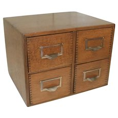 Oak File Box with 4 Drawers
