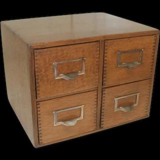 Oak File Box with 4 Drawers