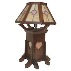 Mahogany Arts & Craft Mission Lamp with Octagon Slag Glass Shade