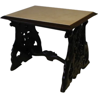 Mahogany Lamp Table with Carved Eagle Legs and Stone Top