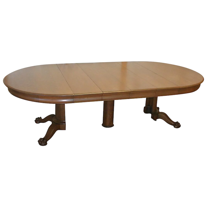 Oak 54 Inch Round Dining Table With Split Pedestal : Staebel Antiques |  Ruby Lane