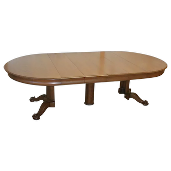 Oak 54 Inch Round Dining Table with Split Pedestal