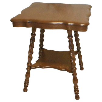 Victorian Oak Lamp Table with Fancy Legs