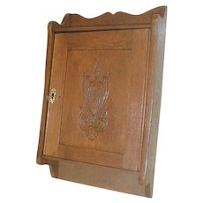 Oak Medicine Cabinet with Carved Door