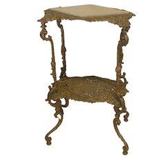 Victorian Brass Pedestal with Stone Insert