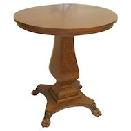 Oak Round Lamp Table with Bulbous Pedestal