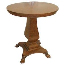 Oak Round Lamp Table with Bulbous Pedestal