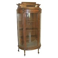 Oak China Cabinet with Curved Glass and Top Mirrored Crown