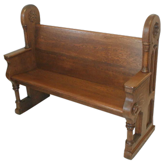 Oak Victorian Gothic Style Church Pew or Parsons Bench