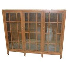 Oak Bookcase  Arts & Crafts with 3 Doors