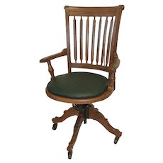 Oak Victorian Office Chair with Adjustable Reclining Seat