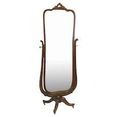 Victorian Mahogany Cheval Mirror on Rotating Base
