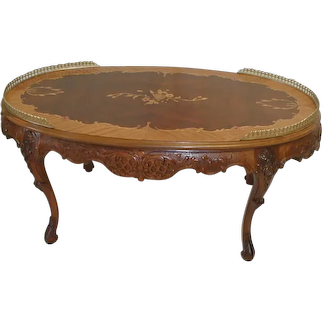 Italian Coffee Table Walnut with Inlaid Top and Brass Gallery