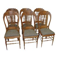 Victorian Oak Dining Chairs Set 6  Carved Top Rail