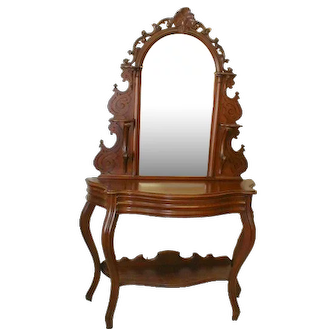 Victorian Walnut Etagere with Carved Mirror