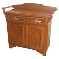 Victorian Walnut Washstand with Jenny Lind Towel Bars