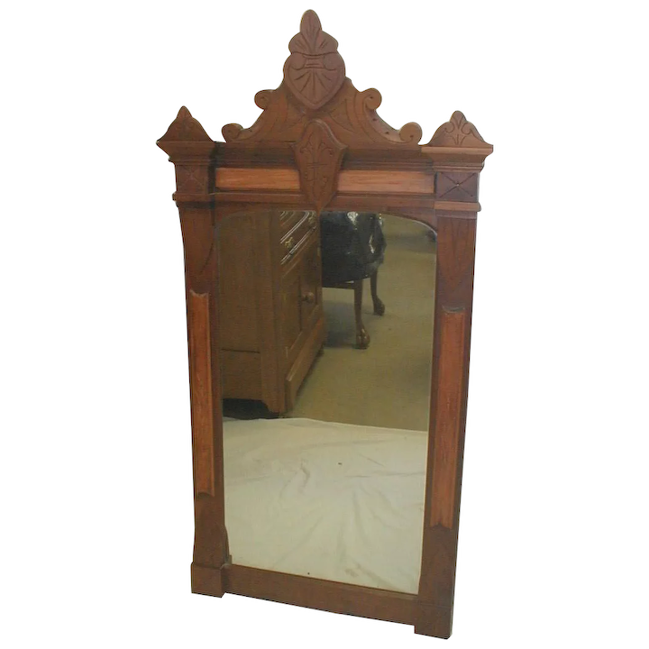 Excellent Walnut Victorian Eastlake Wall Mirror Short Links Chair Design For Home Short Linksinfo