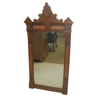 Walnut  Victorian Eastlake Wall Mirror