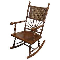 19th Century Cherry Merklen Rocking Chair RARE