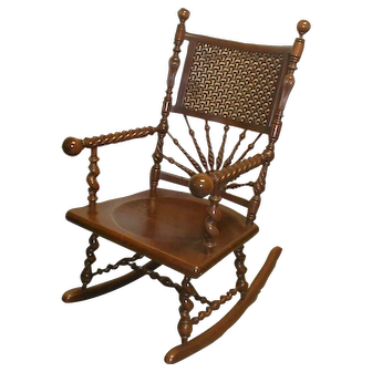 19th Century Cherry Merklen Rocking Chair RARE