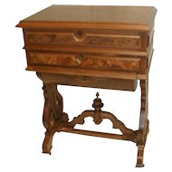 Walnut Victorian Sewing Cabinet with Belly Drawer
