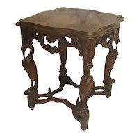 Walnut Lamp Table with Carved Stork Legs Circa 1900