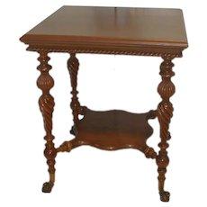 Walnut Lamp Table Merklen Bros  Circa 1900