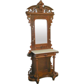 Victorian Walnut Hall Tree with Carved Crest Circa 1870