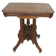 Victorian Walnut Lamp Table with Marble Top and Fancy Base