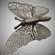 Beautiful edwardian sterling silver 925 detailed butterfly broach