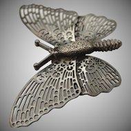 Beautiful edwardian sterling silver 925 detailed butterfly broach