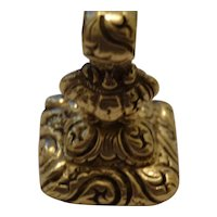 Ornate pinch beck engraved fob seal charm pendant set with natural red carnelian stone