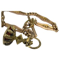 Ornate pinch beck Albert chain/bracelet with engraved fob seal