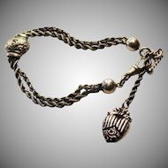 Stunning Sterling silver 925 victorian Albertina bracelet with engraved enamel heart