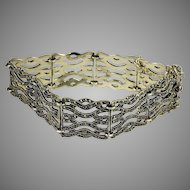 Gorgeous sterling silver 925  marcasite gate bracelet with 9 gates