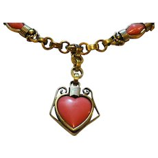 Gorgeous 1920s pinch beck and coral albertina bracelet with large heart