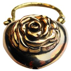 Gorgeous victorian puffy heart with carved rose padlock