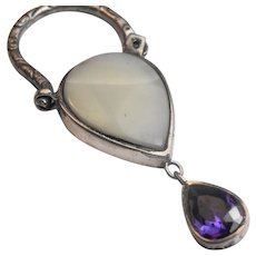 Stunning natural mother of pearl and amethyst set within sterling silver vintage padlock