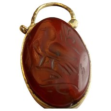 Gorgeous natural carved carnelian pinch beck padlock