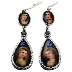 Antique painted porcelain, silver and diamond earrings
