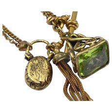 Pinch beck and bloodstone albertina bracelet with tassel and padlock with fob seal charm pendant