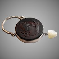Stunning antique Baltic amber sterling silver 925 and cultured pearl intaglio padlock