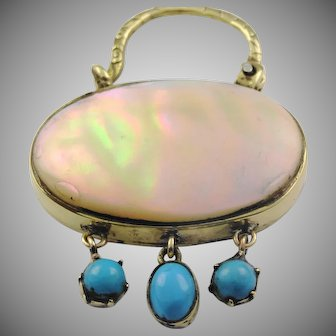 Beautiful antique mother of pearl and turquoise pinch beck padlock